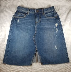 Loft distressed front slit jean skirt